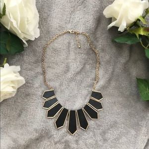 black faux leather and gold statement necklace✨